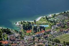 Vista del lago Molveno Fotografie Stock