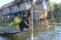 Vista del lago myanmar Inle Fotografia Stock
