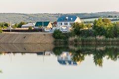 Vista del lago Peschanoe in Ucraina fotografia stock libera da diritti