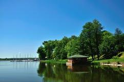 Vista del lago in Ryn Fotografia Stock Libera da Diritti