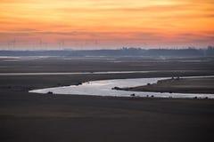 Vista del lago seco y del río Fotografía de archivo libre de regalías