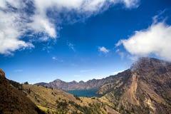 Vista del lago Segara Anak Imágenes de archivo libres de regalías