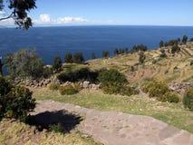 Vista del lago Titicaca abierto Imagen de archivo libre de regalías