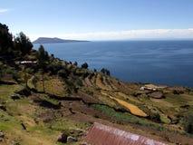 Vista del lago Titicaca de la isla de Taquile Fotografía de archivo libre de regalías