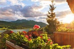 Vista del lago Weissensee Fotografia Stock Libera da Diritti
