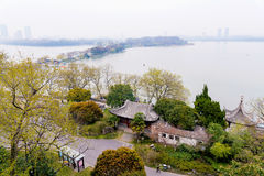 Vista del lago Xuanwu Fotografia Stock Libera da Diritti