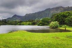 Vista del lago y de montañas en el jardín botánico de Hoomaluhia, isla de Oahu imagen de archivo libre de regalías