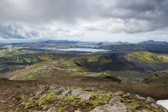 Vista del Lakagigar con i laghi e le rocce, Islanda Fotografie Stock Libere da Diritti