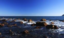 Vista del litorale con sole Fotografia Stock