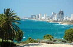 Vista del litorale di mare di Tel Aviv da Jaffa Fotografia Stock Libera da Diritti