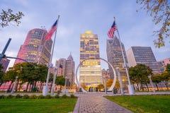 Vista del lungofiume del centro di Detroit Fotografia Stock Libera da Diritti