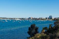 Vista del lungomare centrale di Geelong da Drumcondra, Australia immagini stock