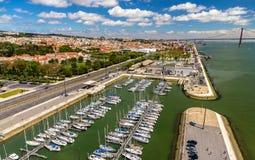 Vista del lungonmare a Lisbona Fotografia Stock