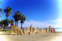 Vista del malagueta spagnolo della La della spiaggia a Malaga Fotografia Stock