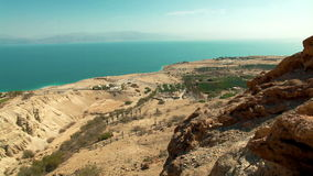 Vista del mar muerto del gedi del ein almacen de metraje de vídeo