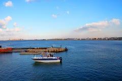 Vista del mare Alessandria d'Egitto, Egitto fotografia stock libera da diritti