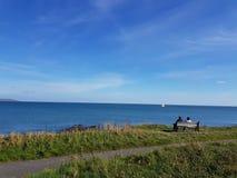 Vista del mare alla spiaggia di Portmanock fotografie stock