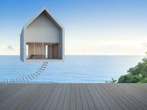 Vista del mare che galleggia a casa con il pavimento vuoto, concetto commovente della casa Fotografia Stock
