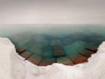 Vista del mare dal pilastro ghiacciato Fotografie Stock Libere da Diritti