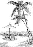 Vista del mare dalla spiaggia illustrazione vettoriale