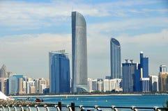 Vista del mare della città Abu Dhabi Fotografia Stock Libera da Diritti