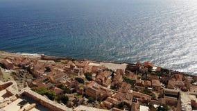 Vista del mare della città della Grecia dal mare archivi video