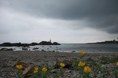 Vista del mare della primavera in Ahtopol fotografie stock libere da diritti