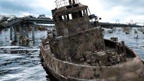 Vista del mare di apocalisse Ponticello distrusso Concetto di Armageddon rappresentazione 3d illustrazione vettoriale