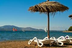 Vista del mare e della spiaggia immagini stock libere da diritti