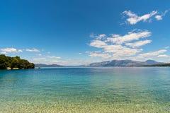 Vista del mare ionico dall'isola di Meganisi fotografia stock libera da diritti