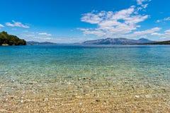 Vista del mare ionico dall'isola di Meganisi fotografie stock libere da diritti