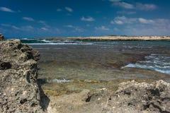 Vista del mare Panorama del mare e del cielo Idillio del mare Immagini Stock Libere da Diritti