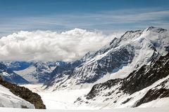 Vista del massiccio di Eiger, di Monch e di Jungfrau, alpi svizzere, Svizzera, Europa Immagini Stock Libere da Diritti