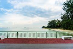 Vista del molo Singapore di Bedok che raggiunge nel mare Fotografia Stock