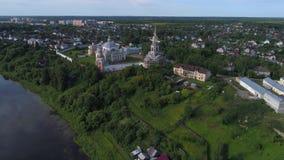 Vista del monasterio de Borisoglebsky Torzhok, vídeo aéreo de Rusia metrajes