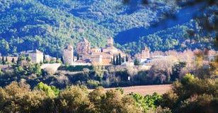 Vista del monasterio de Poblet Imagen de archivo libre de regalías