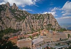 Vista del monastero del benedettino del Montserrat Fotografia Stock