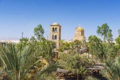 Vista del monastero dello SV San Giovanni Battista, il battesimo del signore su Jordan River immagine stock libera da diritti