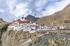 Vista del monastero di Diskit, valli di Nubra, Ladakh, India fotografia stock libera da diritti