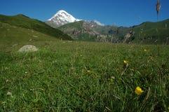 Vista del montaje Kazbek en el mayor Cáucaso, Georgia Fotografía de archivo libre de regalías