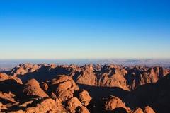 Vista del monte Sinaí en Egipto Fotos de archivo libres de regalías
