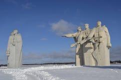 Vista del monumento en el lugar de la batalla durante la Segunda Guerra Mundial cerca de Dubosekovo Volokolamsk imágenes de archivo libres de regalías