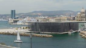 Vista del museo de las civilizaciones europeas y mediterráneas situadas en Marsella almacen de video