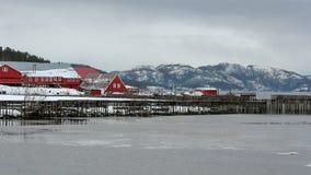 Vista del museo della segheria in Namsos immagine stock