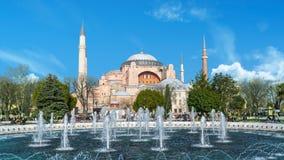 Vista del museo di Hagia Sophia Ayasofya da Sultan Ahmet Park a Costantinopoli, Turchia Immagini Stock