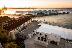 Vista del museo del domani in Rio de Janeiro dal tramonto Fotografia Stock
