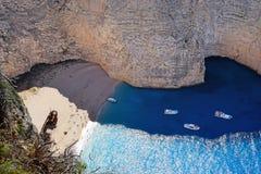 Vista del naufragio in Zacinto, Grecia Fotografia Stock