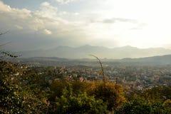 Vista del Nepal dallo stupa di Buddanath Immagine Stock