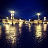 Vista del nightscape di Sibiu Fotografia Stock Libera da Diritti