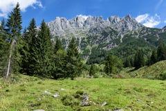 Vista del paesaggio alpino di estate di Wilder Kaiser Mountains, Austria, Tirolo Immagini Stock Libere da Diritti
